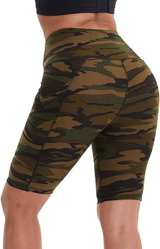 Blickdicht Radlerhose High Waist Sporthose Kurze Shorts mit Taschen HLTPRO Leggings Damen Kurz Yogashorts