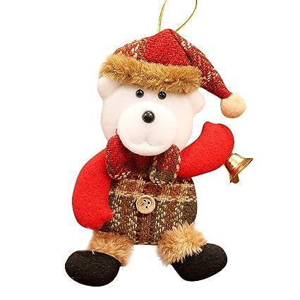 Qiusa Adornos de Navidad, Muñeca Colgar Decoraciones Regalo de Santa Claus Muñeco de Nieve Reno