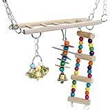 【 夢中になっちゃう! 】iikuru インコ おもちゃ 吊り下げ とまり木 鈴 かわいい 鳥 オウム はしご 階段 小鳥 木製 アスレチック 玩具 セキセイ ゲージ 飾り y213