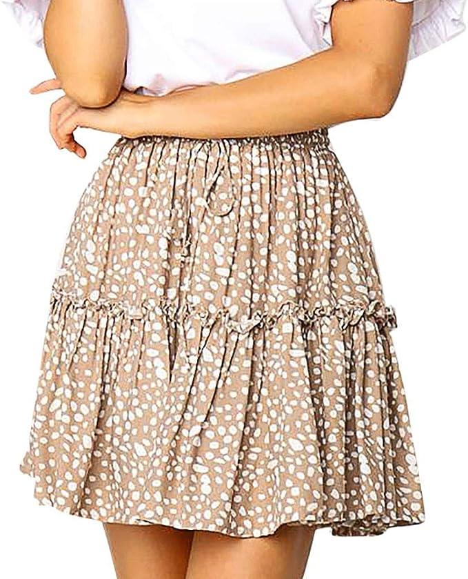 Geilisungren Faldas Mujer Falda Corta de Playa Cintura Alta de ...