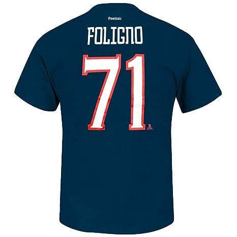 Nick Foligno Columbus Blue Jackets NHL Reebok Men Navy Blue Player Name    Number Jersey T bd456cd92b5b