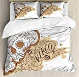 LALADecor Zodiac Virgo 4 Pieces Duvet Cover Twin Bedding Set (1 Duvet Cover+1 Flat Sheet+8403 Pillow Shams) Gothic Mexican Female Portrait Sugar Skull Horoscope Tattoo Brown Pale Brown and White