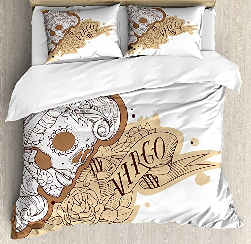 Duvet Cover Set Zodiac Virgo Gothic Mexican Female Portrait Sugar Skull Horoscope Tattoo Ultra Soft Extremely Durable Twill Plush 4 Pcs Bedding Sets for Childrens/Kids/Teens/Adults Twin Size by BABE MAPS