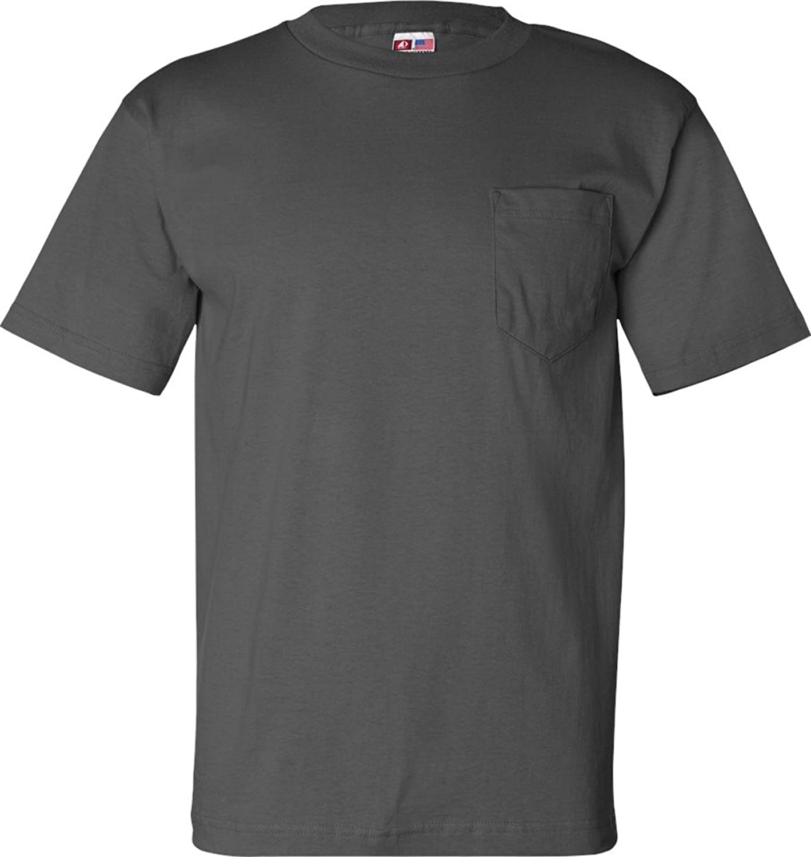 Bayside USA-Made Short Sleeve T-Shirt with a Pocket. 7100-Charcoal