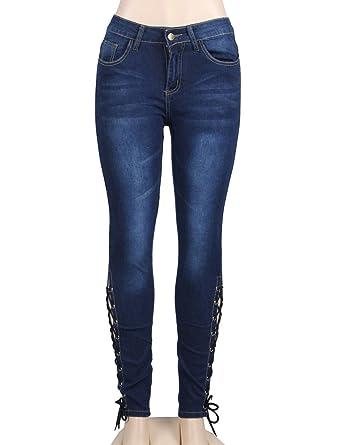 Amazon.com: ohyeahlady Mujer Encaje Hasta tonos Denim Jeans ...