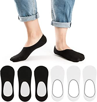 6 Pairs Low Cut Non Slip Grip Footies Invisible Liner Casual Socks for Loafers Sneaker Boat Shoes Oxfords No Show Socks for Men and Women