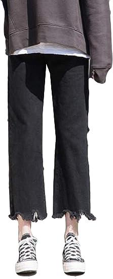 YiTongレディース ジーンズ フレア オシャレ 九分丈 黒 ジーパン ワイドパンツ 切りっぱなし 着痩せ 韓国風 通学 デニムパンツ ボトムス ストレート カジュアル 秋 冬 人気 通学