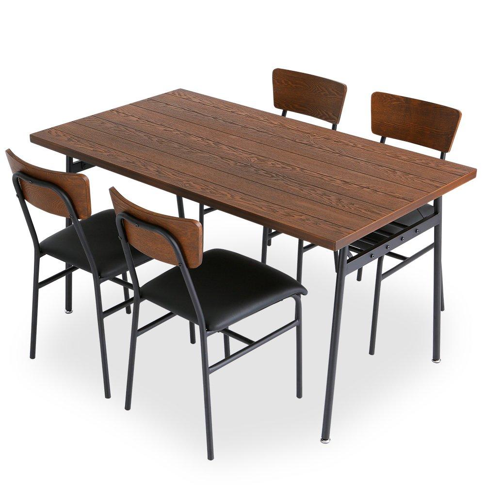 LOWYA (ロウヤ) ダイニングセット タモ材 天然木 木製 ダイニング テーブル 5点セット 4人掛け 135cm ブラウン おしゃれ 新生活 B01B2ODDG0 【5点セット】4人掛け|ブラウン ブラウン 【5点セット】4人掛け