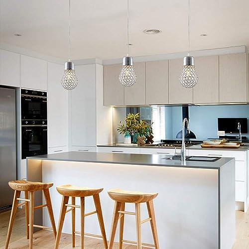 Crystal Pendant Lighting, Chrome Creative Big Bulb, Adjustable Cord Lamp Ceiling Pendant Light Modern Fixture for Bar counter, Dinning Room Bedroom, Kitchen Island and Restaurant, 1 Pack