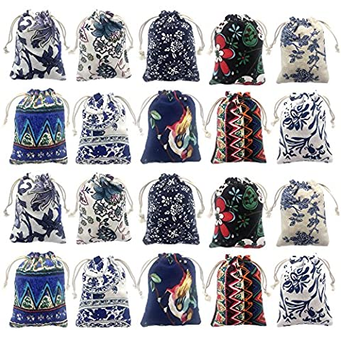 Elesa Miracle 20pcs Retro Cotton Canvas Jewelry Pouch Bag, Drawstring Coin Purse, Gift Bag Value - Pouch Gift Set