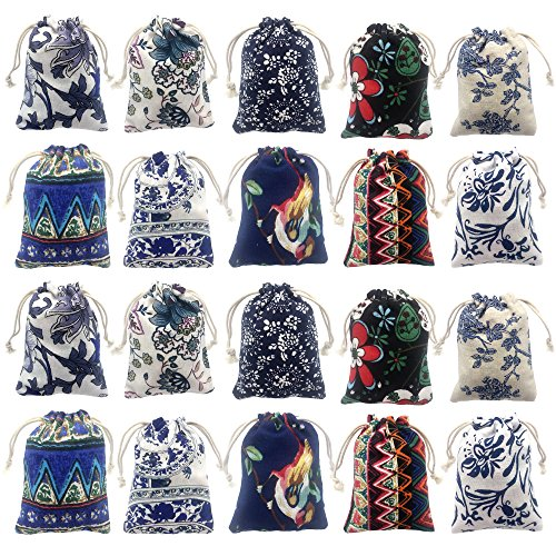 Elesa Miracle 20pcs Retro Cotton Canvas Jewelry Pouch Bag, Drawstring Coin Purse, Gift Bag Value Set (Pouch Crystal)