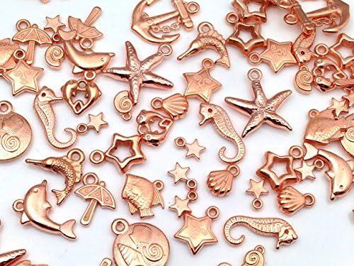 【ピンクゴールド通販広場】ピンクゴールド 夏物 海系 チャーム アソート 20個