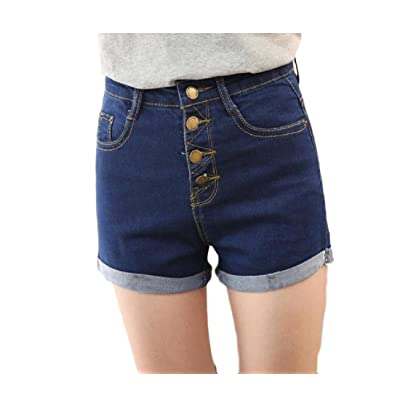 Abetteric Women's Plus Size High Waisted Casual Crimping Buckle Jean Summer Shorts Blue XS
