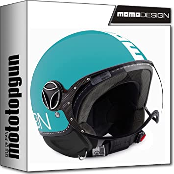 MOMO-DESIGN CASCO MOTO FIGHTER CLASSIC AGUAMARINA BLANCO XXS