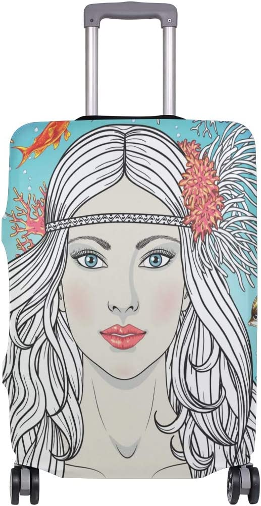 GIOVANIOR Mermaid Girl Among Corals And Fishes Luggage Cover Suitcase Protector Carry On Covers