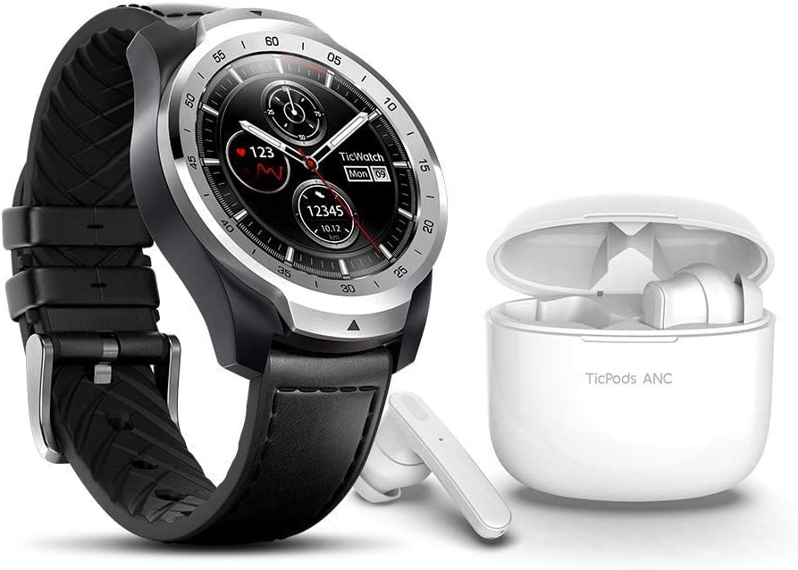 TicWatch Pro 2020 Plus TicPods ANC Bundle-TicWatch Pro 2020 Weas OS by Google GPS NFC Waterproof smartwatch+TicPods ANC Active Noise Cancellation Wireless Earbuds