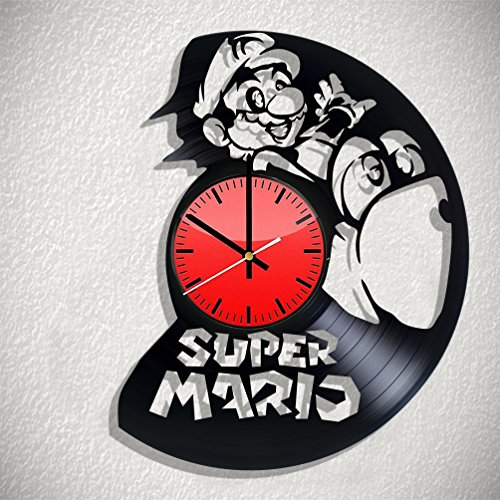Art Vintage Super Mario Bros. vinyl record wall clock, Super Mario Bros. wall poster, Super Mario Bros. decal