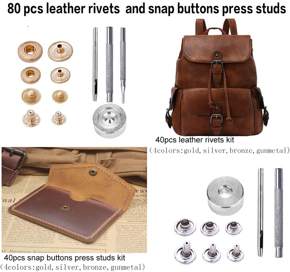 Jupean 424 Pieces Leather Working Tools and Supplies Leather Sewing Kit Leather Stamping Set,Leather Tools and Supplies Wooden Storage Box Leather Tool Holder Leather Craft Kits with Instructions