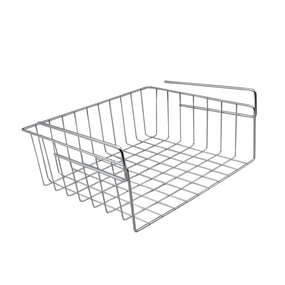 SHENGXIA Small Kitchen Under Shelf Storage Basket Wire Rack Silver