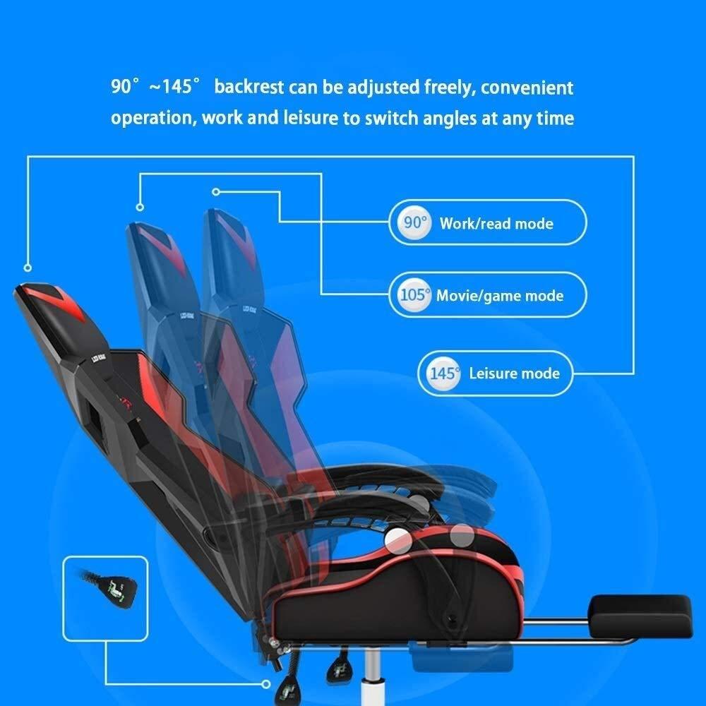 Xiuyun svängbar stol racerstol, med fotstöd justerbar hel del sits rygg PU-läder stol hög rygg spelstol med massage ländrygg stöd atletisk stol (färg: B) C
