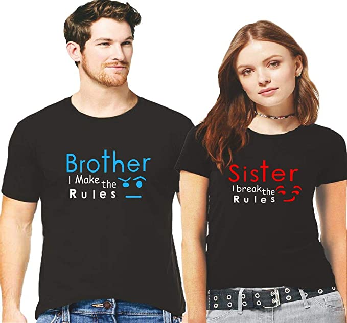 881c70c5 Hangout Hub Men's and Women's Sibling Cotton Brother Makes The Rule Sister  Breaks The Rule Printed