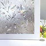 Bloss Frosted Contact Paper Privacy Window Film Stain Glass Privacy Film 3D Tulip Vinyl Non Adhesive Static Cling for Bathroom Home Door Kitchen Living Room Office Meeting Room 17.7'' x 78.7''