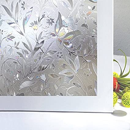 Bloss Frosted Contact Paper Privacy Window Film Stain Glass Privacy Film 3D  Tulip Vinyl Non Adhesive