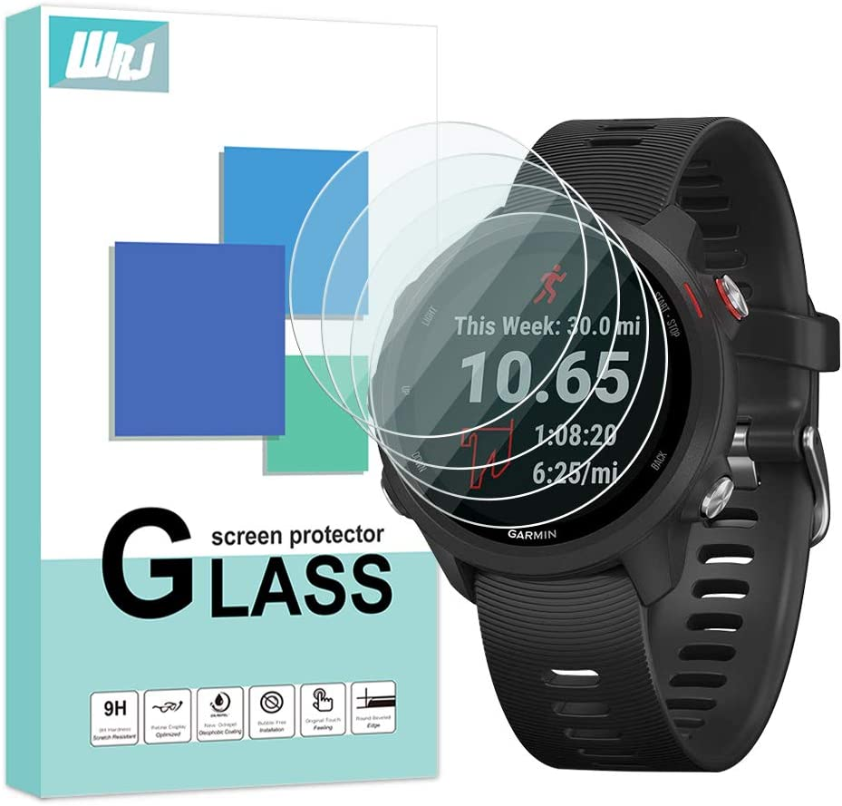WRJ for Garmin Forerunner 245//Garmin Forerunner 245M Screen Protector,HD Clear Film 9H Hardness Tempered Glass for Garmin Forerunner 245M Bubble-Free 4-Pack Scratch Resistant Anti-fall Anti-fingerprints