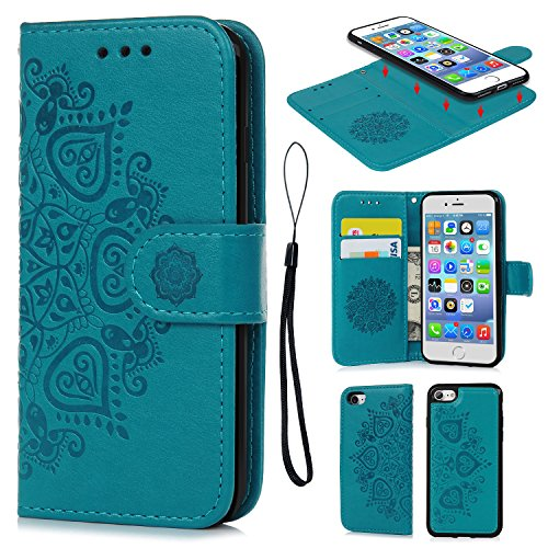 iPhone 7 Case, iPhone 8 Wallet Case Embossed Mandala Florals PU Leather TPU Shock Bumper Detachable Magnetic Case Slot Wallet Wrist Strap Folio Cover for iPhone 7 & iPhone 8 Blue