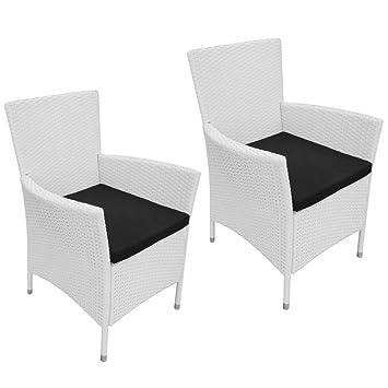 Vidaxl Gartenstühle 2 Stk Poly Rattan Weiß Gartensessel Gartenmöbel