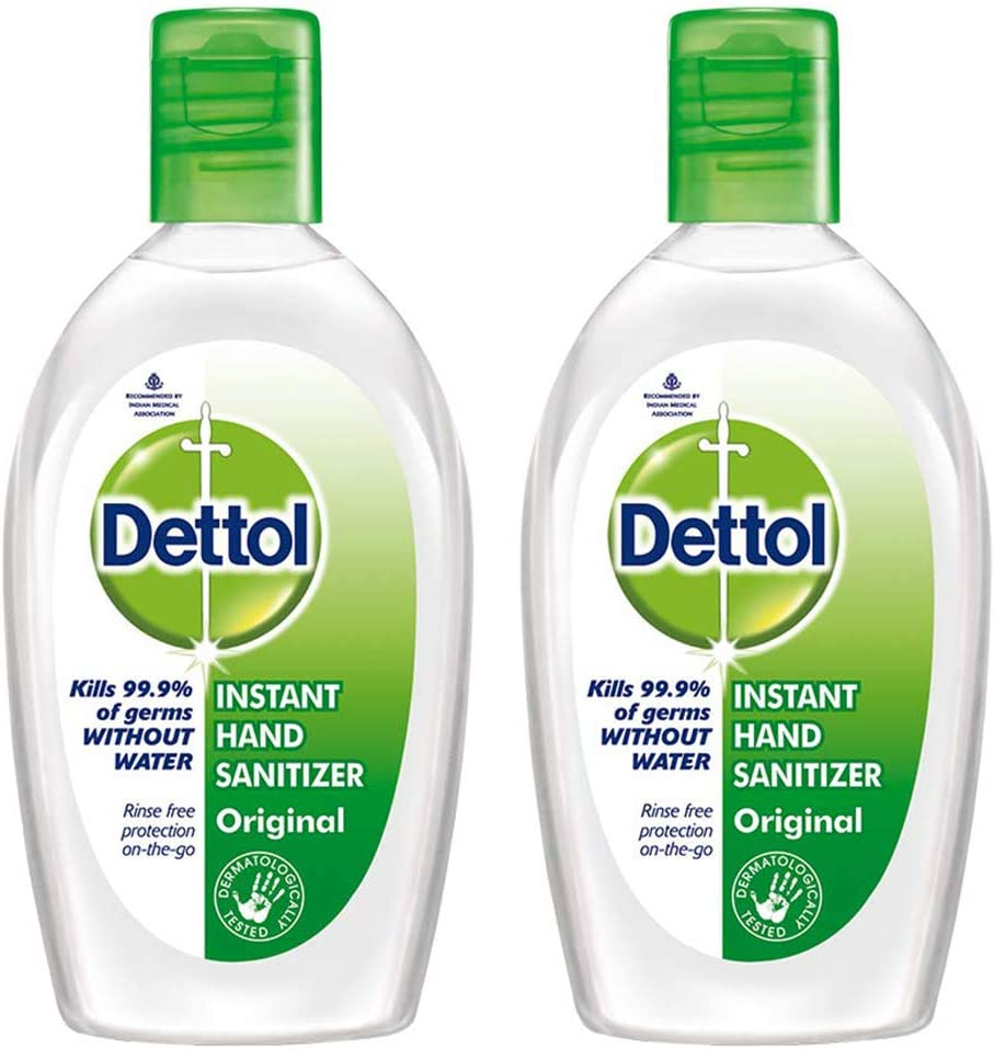Twin Pack of Dettol Hand sanitizer, clear bottles with green lids