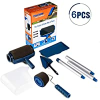 Paint Roller Brush Tools Set Wall Printing Brush Kit with Paint Runner Pro Wall Printing Brush Smart Paint Roller Applicator for Painting Walls and Ceilings for Home Office Room (6pcs Blue)