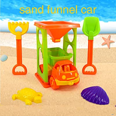 Leoie Kids Children Summer Colorful Car Truck Sand Funnel Shovel Rake Beach Toy Set: Toys & Games