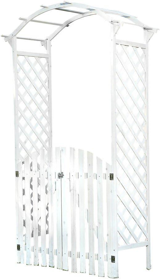 Arco – Puerta Pergola Color Blanco con puerta madera Rose Rank ...