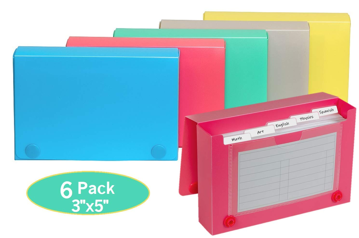 1InTheOffice Index Card Case, 3'' x 5'' Index Card Holder, Assorted Colors (6 Pack) by 1InTheOffice
