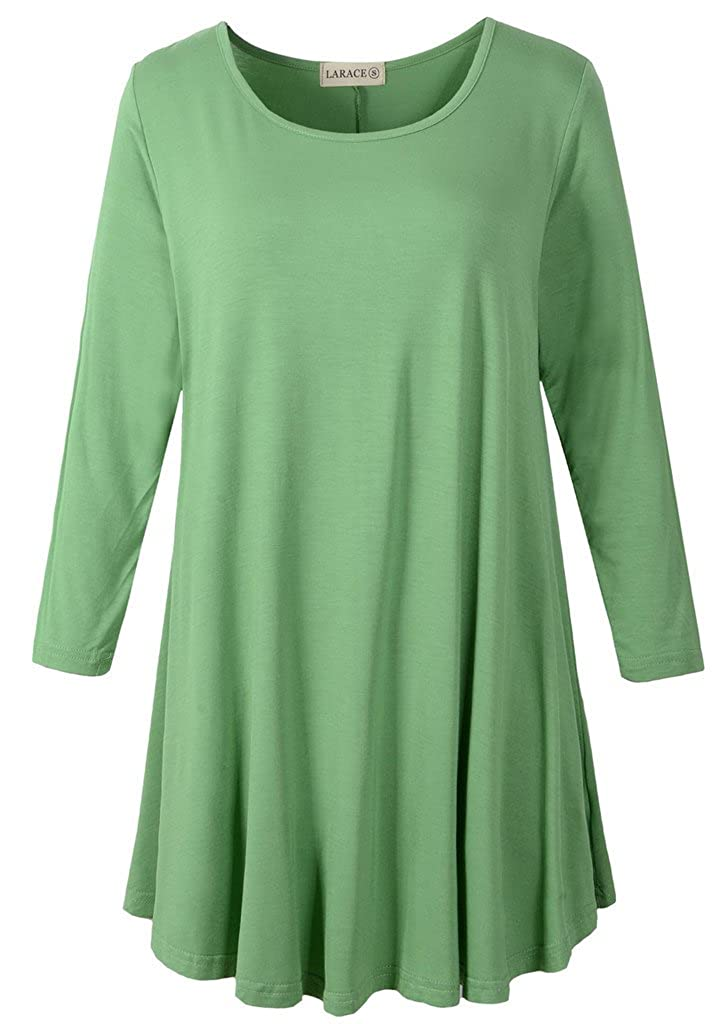 Green LARACE Women 3 4 Sleeve Tunic Top Loose Fit Flare TShirt