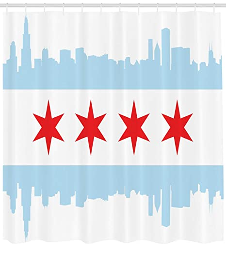 Chicago Skyline Shower Curtain Famous Route 66 Print for Bathroom