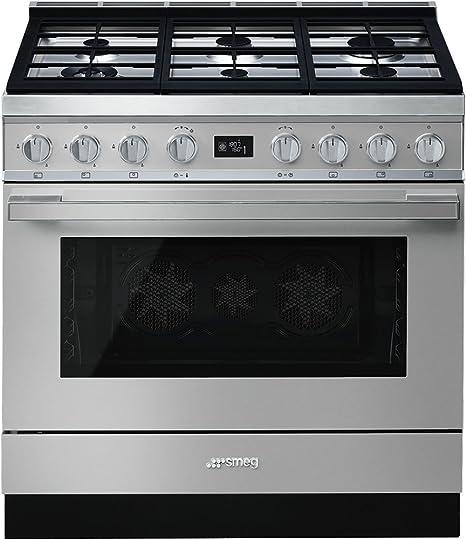 Smeg CPF9GPX - Cocina (Cocina independiente, Acero inoxidable, Giratorio, Frente, Electrónico, LCD): Amazon.es: Hogar