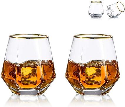 Juego De 2 Vasos De Whisky De Diamante Inclinados, Vaso De Whisky De 300 Ml, Aspecto Moderno para Hombres, Mujeres, Papá, Esposo, Amigos, Cristalería ...