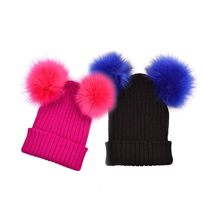 MarJunSep 2 Pack Winter Warm Hat for Women Girl Thick Knit Beanies hat  Skullies Double Fur 04d98ba3171