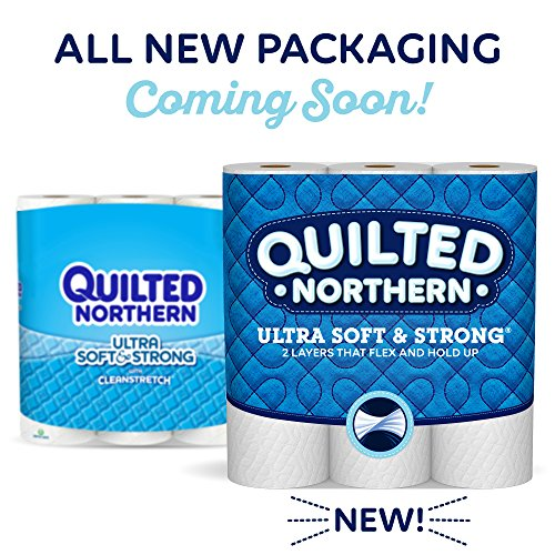 Quilted Northern Ultra Soft & Strong Toilet Paper with CleanStretch, Pack of 9 Mega Rolls, Equivalent to 36 Regular Rolls