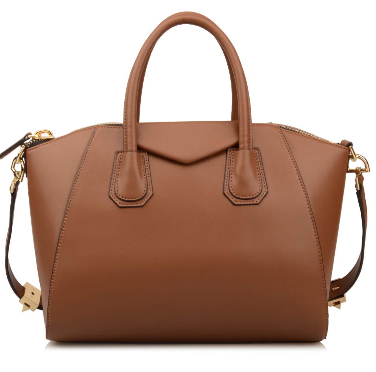 Ainifeel Women's Genuine Leather Everyday Purse Top Handle Handbags Shoulder Bags (Medium, Khaki)