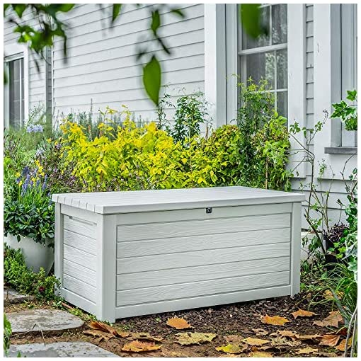 Deck Boxes 165 Gallon Weather Resistant Resin Deck Storage Container Box Outdoor Patio Garden Furniture, White outdoor deck boxes
