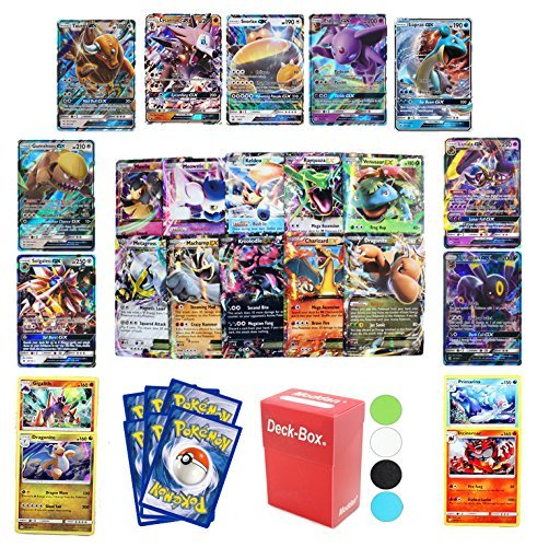 6 Pokemon Cards - GX Guaranteed - Plus Deck Box & Random Bonus