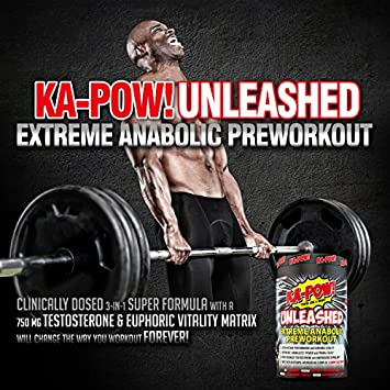 KA-POW UNLEASHED – EXTREME ANABOLIC PREWORKOUT -The Strongest Most Complete Pre-Workout Formula Ever Made Clinically Dosed 3-in-1 Super Formula will change the way you workout FOREVER 20 Svgs