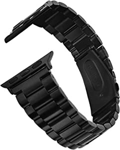 V-MORO Metal Band Compatible with Series 5 Apple Watch Bands 44mm 42mm Slim Solid Stainless Steel Business Strap Replacement for iWatch Series 4 3 2 1 42mm/44mm Black Men Women