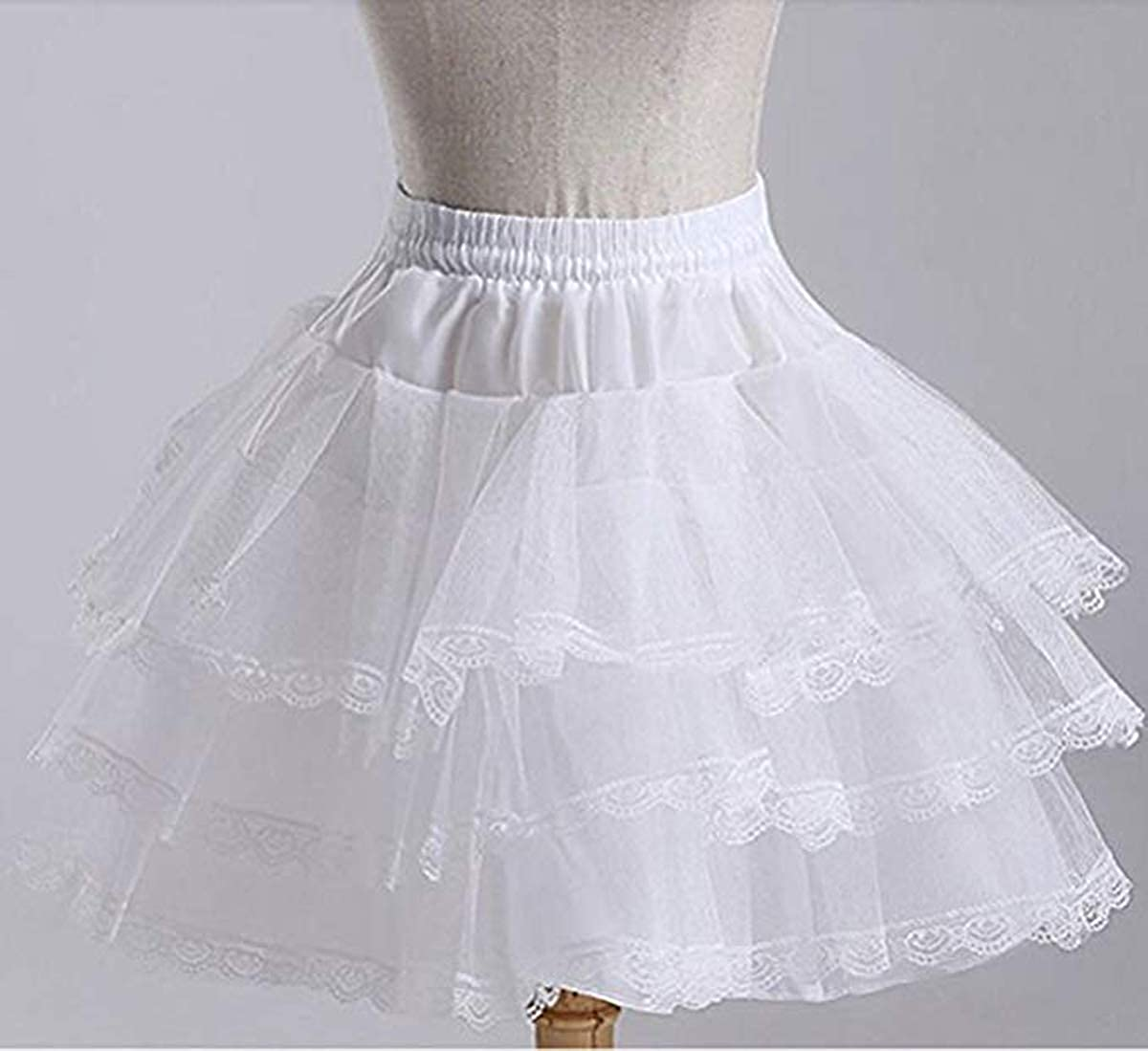 JoJoHouse 3 Layers Girls Slip Flower Girl Petticoat Crinoline Hoopless Skirt Underskirt for Kids KPT2