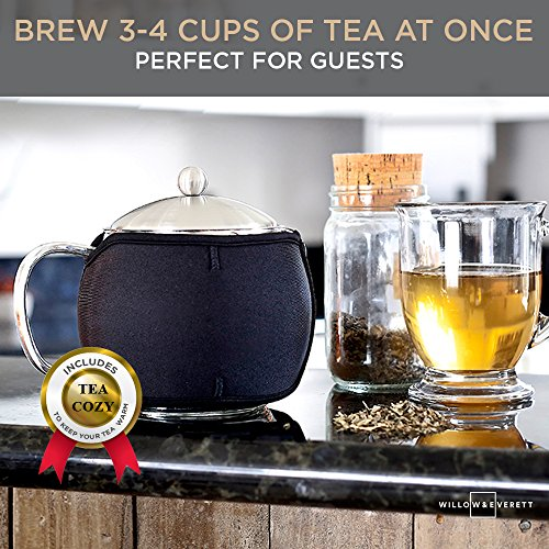 Teapot Kettle with Warmer - Tea Pot and Tea Infuser Set - Glass Tea Maker Infusers Holds 3-4 Cups Loose Leaf Iced Blooming or Flowering Tea Filter- Teapots Kettles Tea Strainer Steeper Tea Pots by Willow & Everett (Image #2)