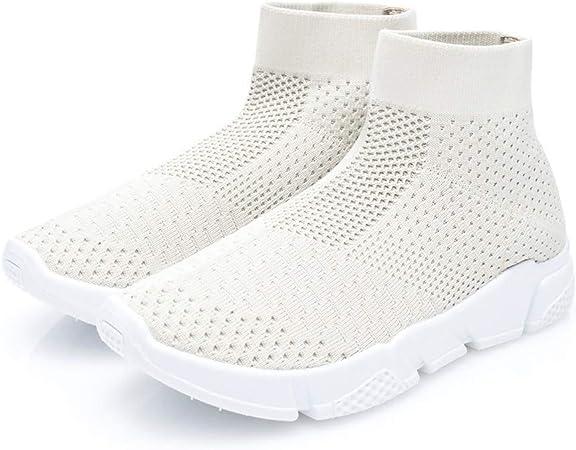 JLCP Las Mujeres de Malla Entrenadores Zapatillas de Running, de Alta Corte Zapatillas atléticas Ligeros Respirables Non-Slip Gimnasio Viajar Caminando Zapatos Deportivos al Aire Libre,Beige,37: Amazon.es: Hogar