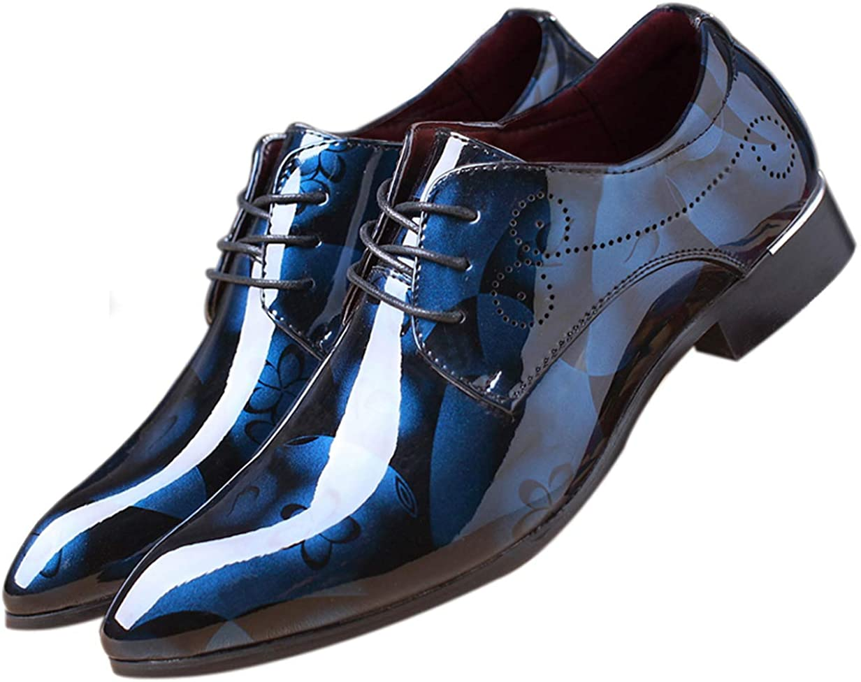 Men/'s Faux Leather Dress Formal Shoes Business Wedding Oxford Pointy Toe Lace Up